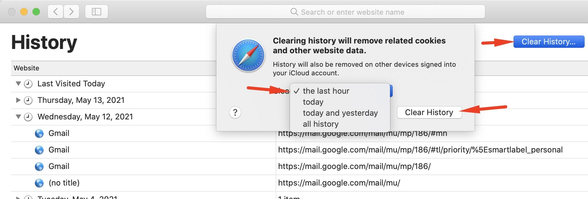 How to clear the Safari history on an iPhone or a Mac