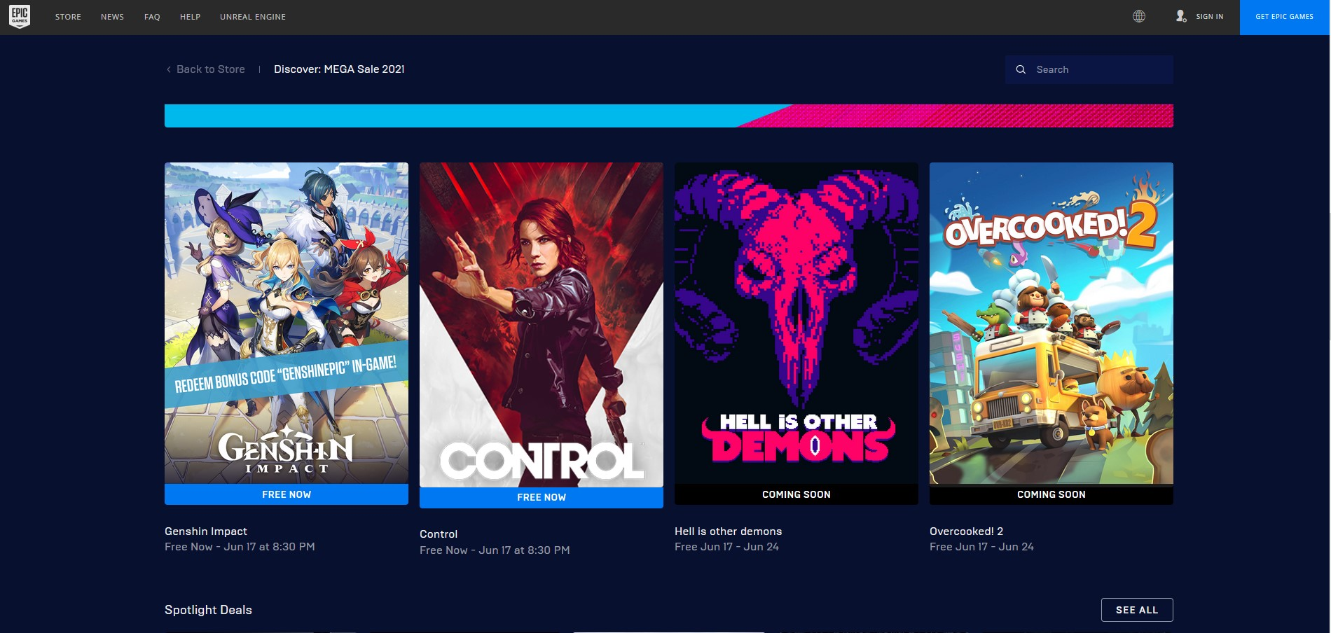 Epic Games is offering Control & Genshin free for one week only