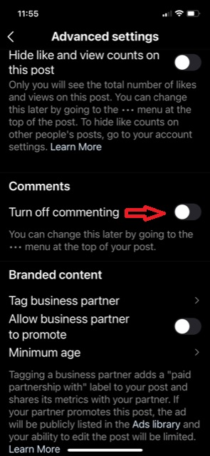 Disable Instagram comments using these easy steps for new post.