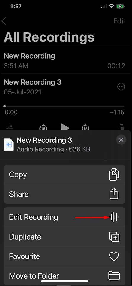 Edit an iPhone Voice Memo in iOS 15