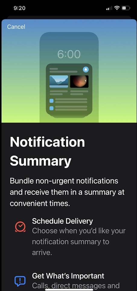 How to enable the Notification Summary feature in iOS 15