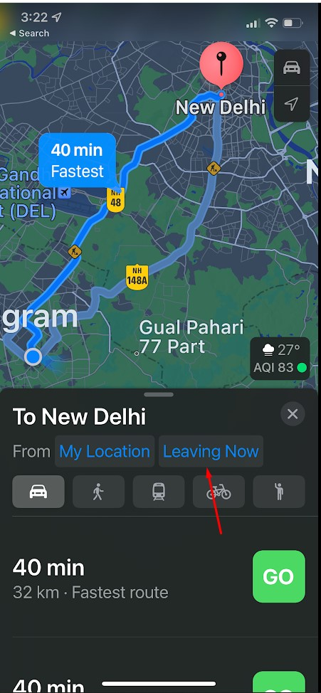 How to Configure Departure and Arrival Times in Apple Maps for Driving Directions on iOS 15