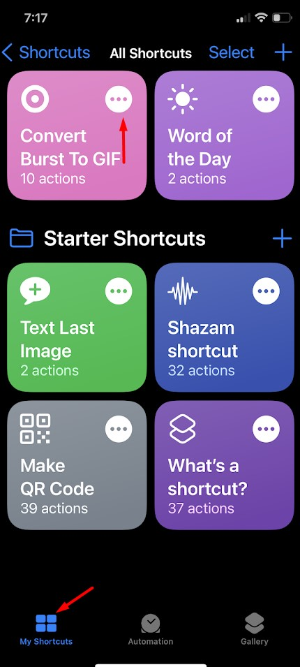 Convert Burst Photos to Animated GIFs on an iPhone or iPad suing shortcut App