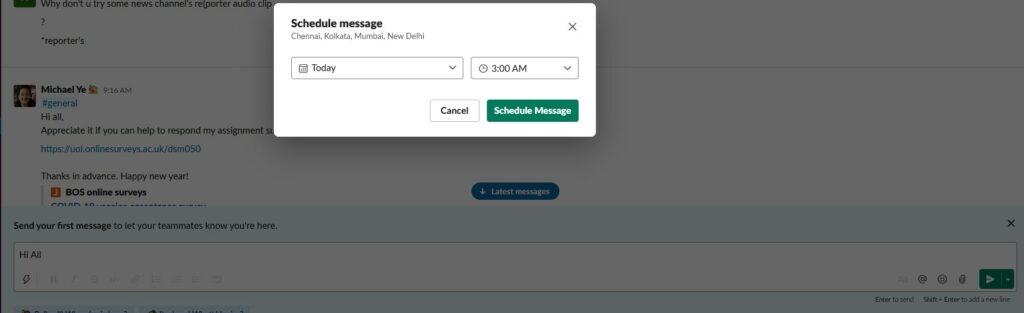 How to schedule Slack messages on a desktop computer