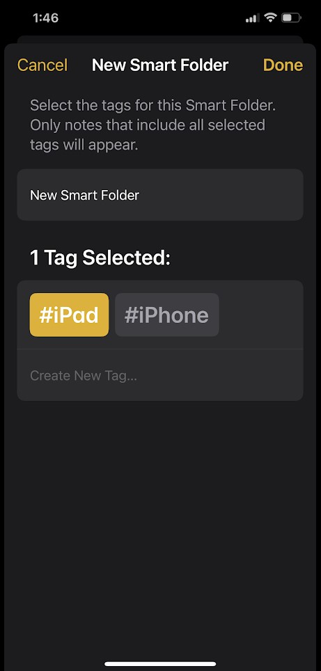 How to create Smart folder Apple Notes in iOS 15