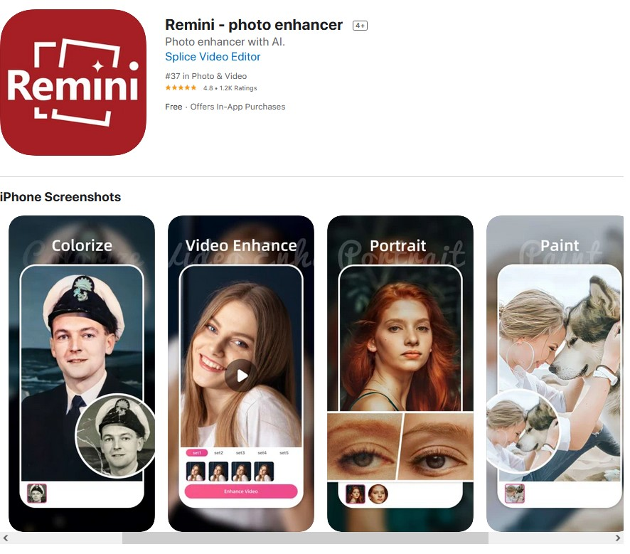 5 iPhone Apps That Enhance Your Old Blurry Photos with AI  Remini iPhone App That Enhance Your Old Blurry Photos with AI